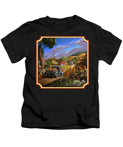 Pumpkins Farm Folk Art Fall Landscape - Square Format Kids T-Shirt