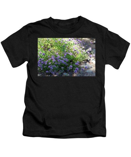 Purple Bachelor Button Flower Kids T-Shirt