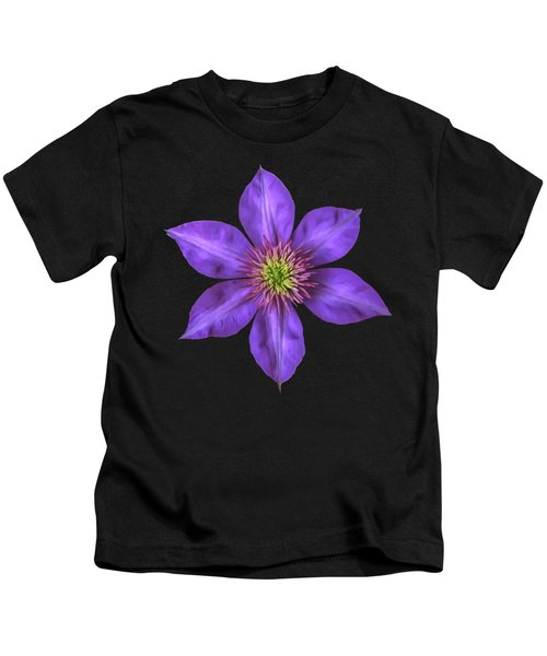 Purple Clematis Flower With Soft Look Effect Kids T-Shirt
