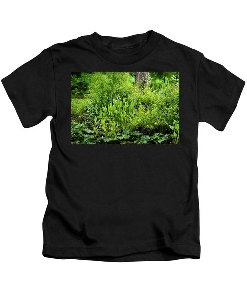 Purple Flowers By The Ponds Edge Kids T-Shirt