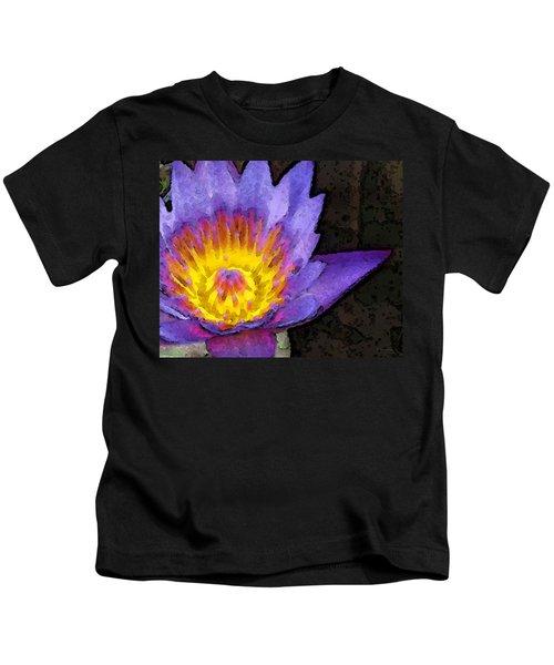 Purple Lotus Flower - Zen Art Painting Kids T-Shirt