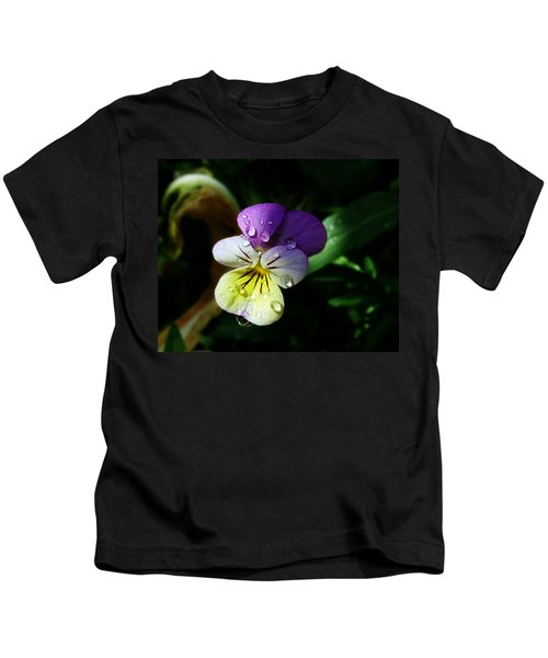 Purple Pansy Kids T-Shirt