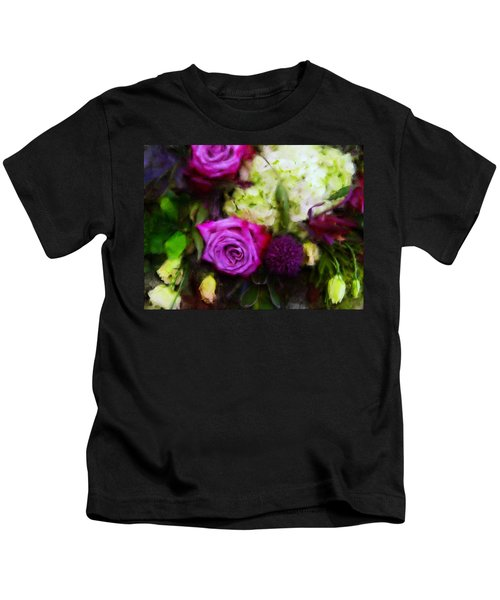 Purple Roses With Hydrangea Kids T-Shirt