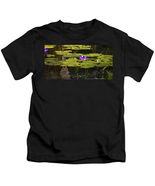 Purple Water Lilly Distortion Kids T-Shirt