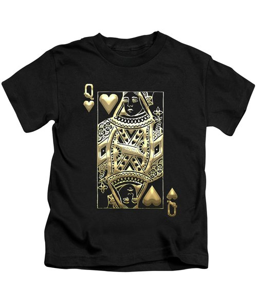 Queen Of Hearts In Gold On Black Kids T-Shirt