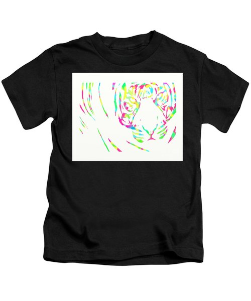 Rainbow Coloured Tiger Kids T-Shirt