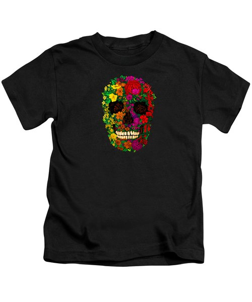 Rainbow Flowers Sugar Skull Kids T-Shirt by Three Second