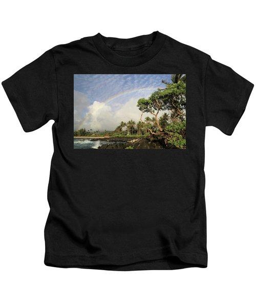 Rainbow Over The Beach Kids T-Shirt