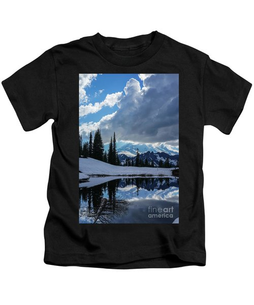 Rainier Reflection Dramatic Skies Kids T-Shirt