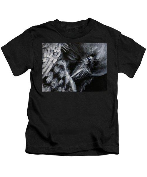 Raven Preening Kids T-Shirt