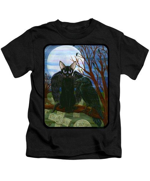 Raven's Moon Black Cat Crow Kids T-Shirt
