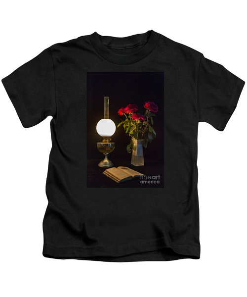 Reading By Oil Lamp Kids T-Shirt