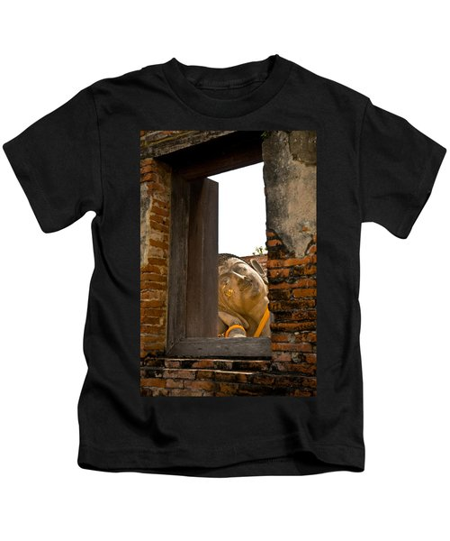 Reclining Buddha View Through A Window Kids T-Shirt