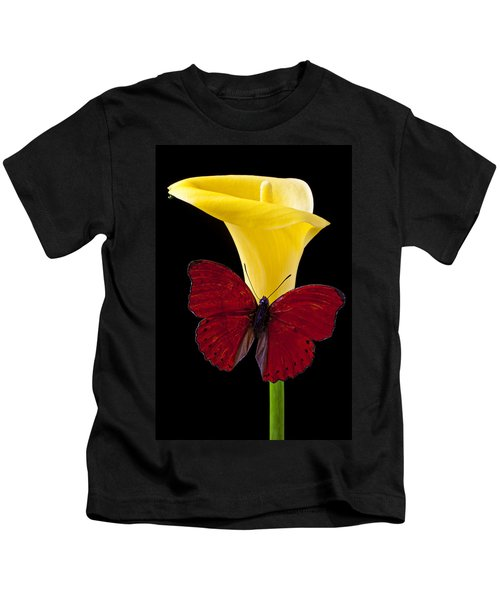 Red Butterfly And Calla Lily Kids T-Shirt