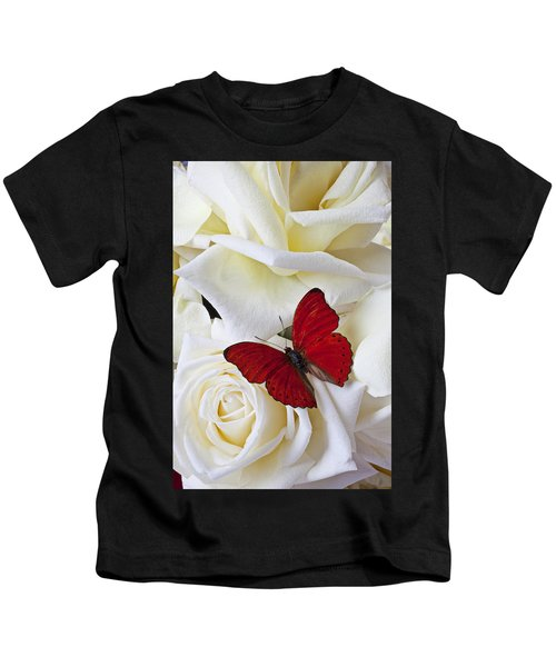 Red Butterfly On White Roses Kids T-Shirt