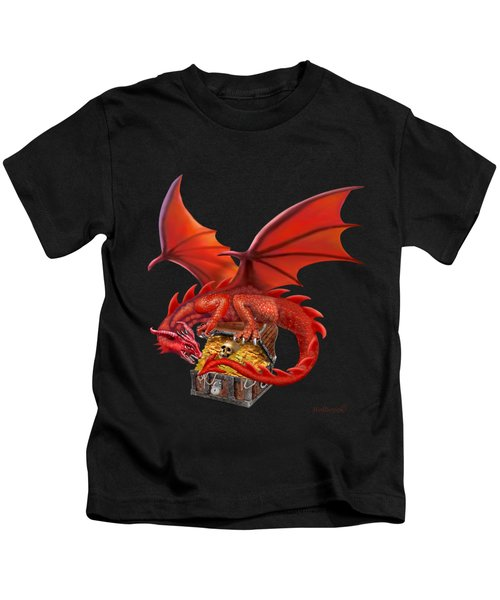 Red Dragon's Treasure Chest Kids T-Shirt by Glenn Holbrook