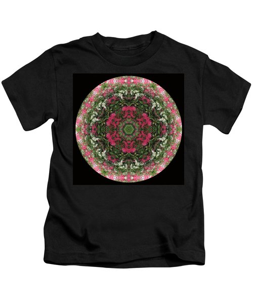 Red Flower Faces Kaleidoscope Kids T-Shirt