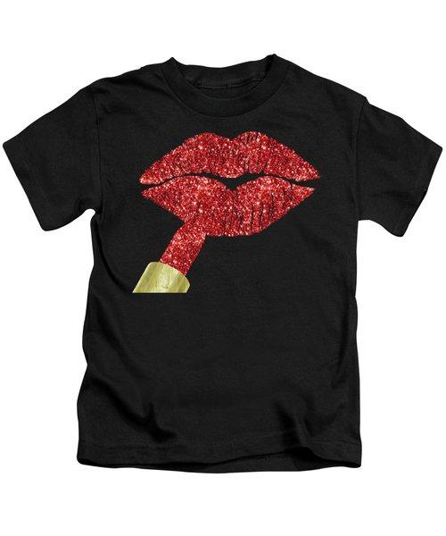 Red Kiss, Faux Glitter Lipstick On Pouty Lips, Fashion Art Kids T-Shirt