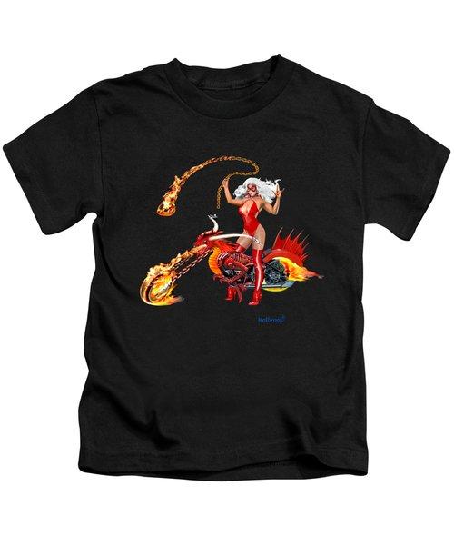 Red Hot Dragon Biker Babe Kids T-Shirt