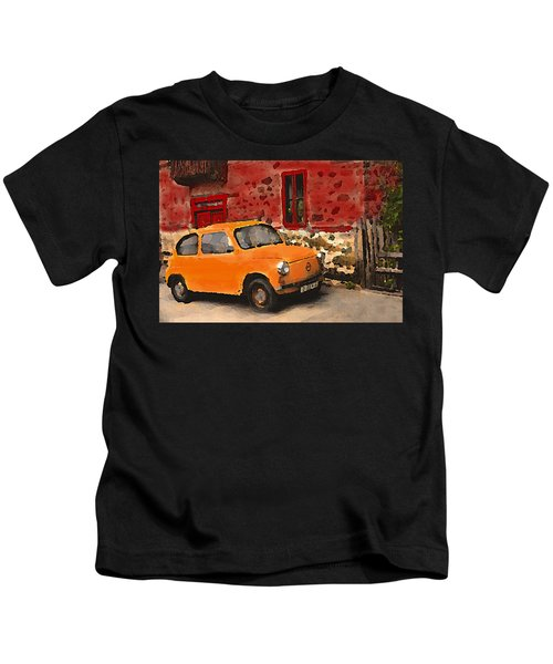 Red House With Orange Car Kids T-Shirt