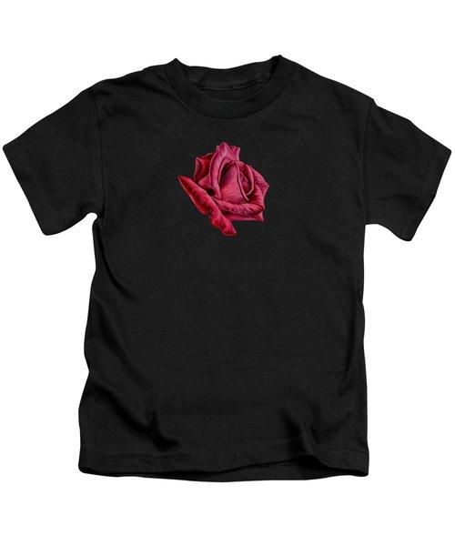 Red Rose On Black Kids T-Shirt