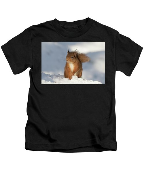 Red Squirrel In The Snow Kids T-Shirt