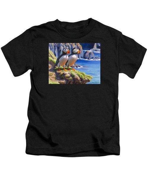 Horned Puffin Painting - Coastal Decor - Alaska Wall Art - Ocean Birds - Shorebirds Kids T-Shirt