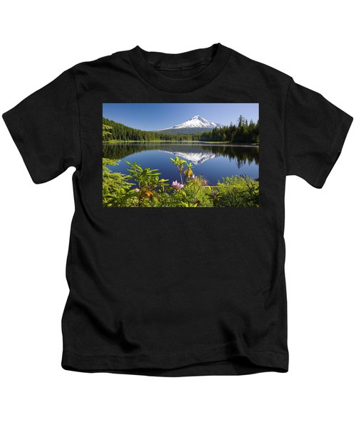 Reflection Of Mount Hood In Trillium Kids T-Shirt