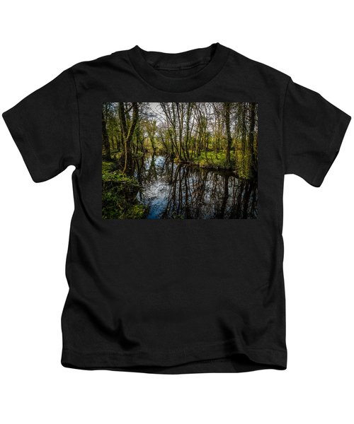 Kids T-Shirt featuring the photograph Reflections At Yeats Thoor Ballylee by James Truett