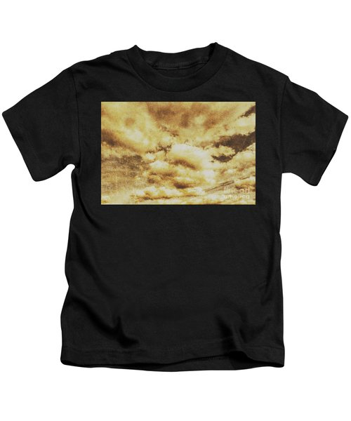Retro Grunge Cloudy Sky Background Kids T-Shirt