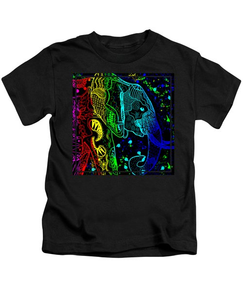 Rainbow Zentangle Elephant With Black Background Kids T-Shirt