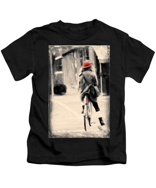 Riding My Bicycle In A Red Hat Kids T-Shirt