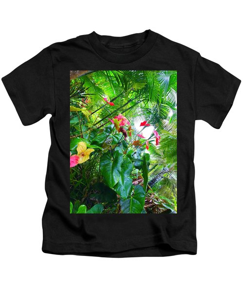 Robins Garden With Anthuriums And Ferns Kids T-Shirt