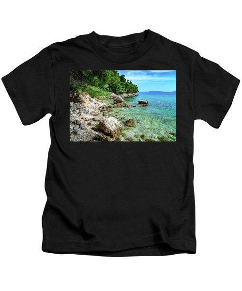 Rocky Beach On The Dalmatian Coast, Dalmatia, Croatia Kids T-Shirt