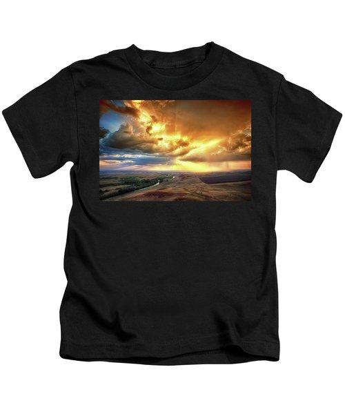 Rolling Rain Of Summer Sunset Kids T-Shirt