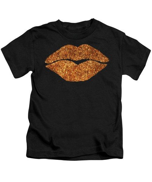 Rose Gold Texture Kiss, Lipstick On Pouty Lips, Fashion Art Kids T-Shirt