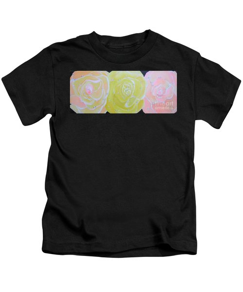 Rose Medley With Dewdrops Kids T-Shirt