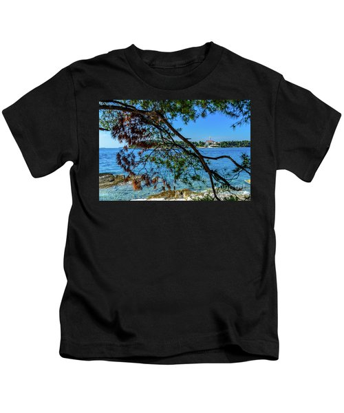 Rovinj Old Town Accross The Adriatic Through The Trees Kids T-Shirt