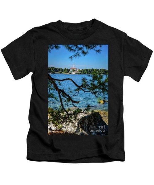 Rovinj Seaside Through The Adriatic Trees, Istria, Croatia Kids T-Shirt