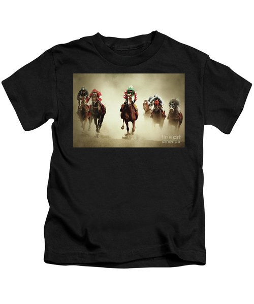 Running Horses In Dust Kids T-Shirt