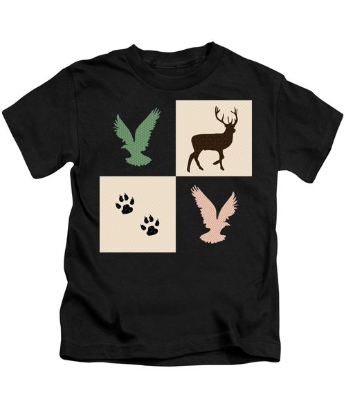 Rustic Wildlife Pattern Kids T-Shirt
