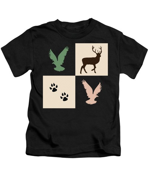 Kids T-Shirt featuring the mixed media Rustic Wildlife Pattern by Christina Rollo