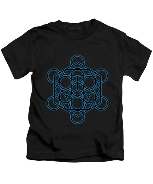 Sacred Geometry - Black Dodecahedron With Blue Halo Over Black Canvas Kids T-Shirt