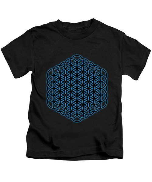 Sacred Geometry - Black Full Flower Of Life - Flow Of Life With Blue Halo Over Black Canvas Kids T-Shirt