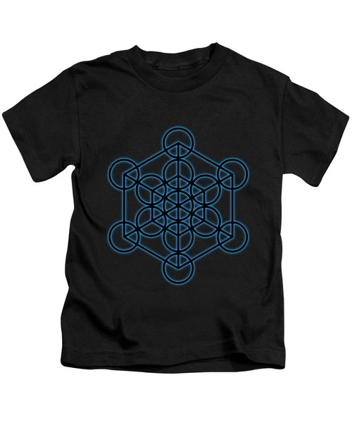 Sacred Geometry - Black Hexahedron Cube With Blue Halo Over Black Canvas Kids T-Shirt