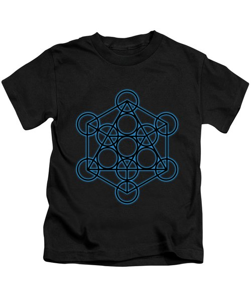 Sacred Geometry - Black Icosahedron With Blue Halo Over Black Canvas Kids T-Shirt