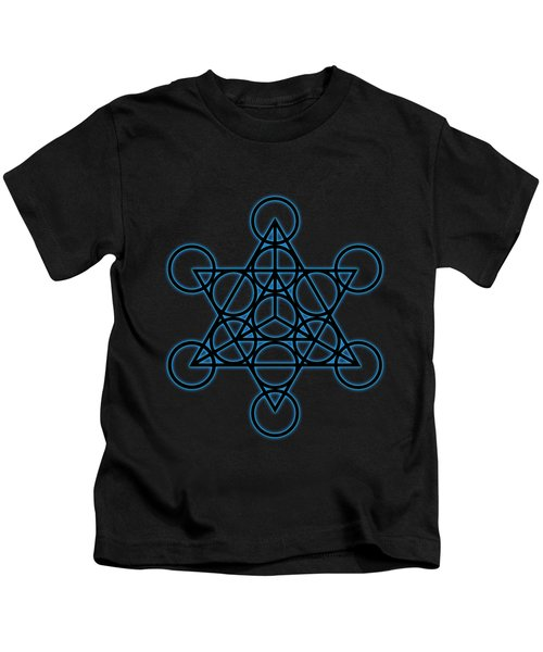 Sacred Geometry - Black Star Tetrahedron With Blue Halo Over Black Canvas Kids T-Shirt