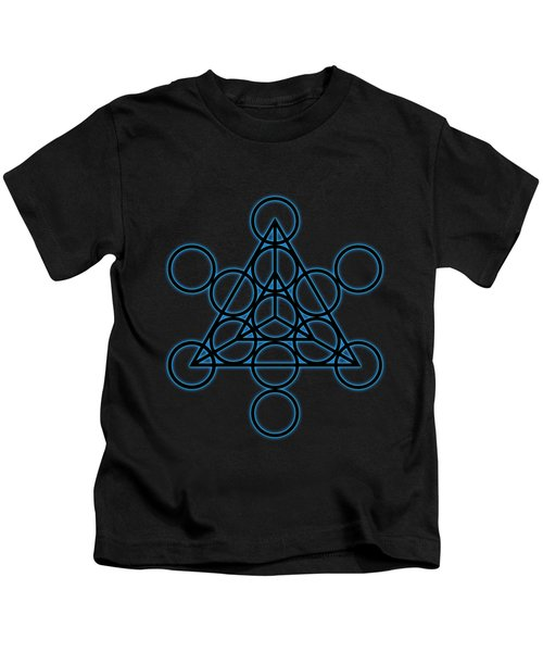 Sacred Geometry - Black Tetrahedron With Blue Halo Over Black Canvas Kids T-Shirt