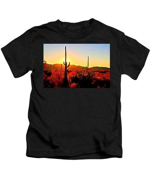 Saguaro National Park Sunset Kids T-Shirt