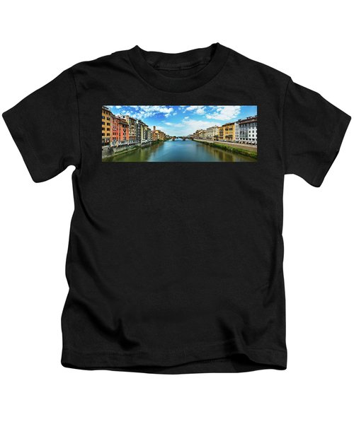 Panoramic View Of Saint Trinity Bridge From Ponte Vecchio In Florence, Italy Kids T-Shirt